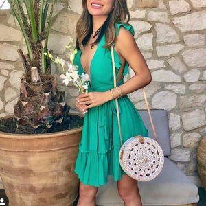 NEW Majorelle Revolve green misty wrap dress XXS